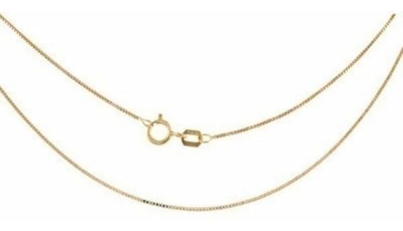 Cordão Corrente Veneziana Feminino 40cm Em Ouro 18k-750