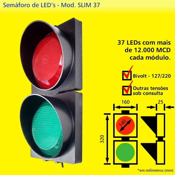 Semaforo Grande Slim 37 Led 12000 Mcu X Bivolt Sinalizador