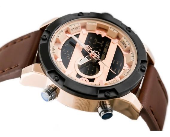 Relógio Masculino Esportivo Couro Tech 9097 Frete Grátis