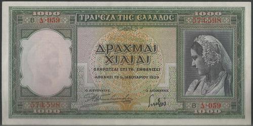 Grecia 1000 Dracmas 1 Ene 1942 P110
