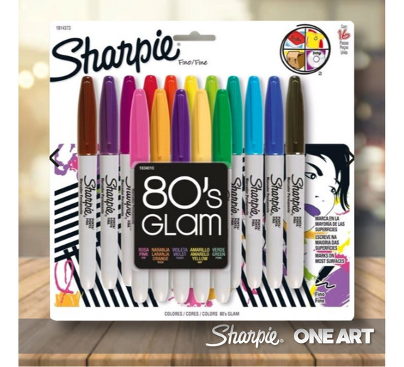 Marcadores Sharpie Glam 80s X 16 Unidades