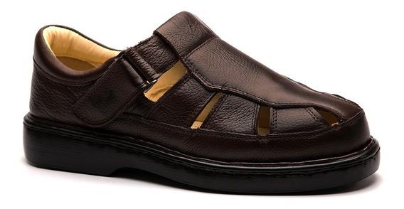 Sandália Masculina 320 Em Couro Floater Café Doctor Shoes
