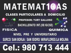 Clases De Matemáticas A Domicilio, Profesor Miraflores Surco