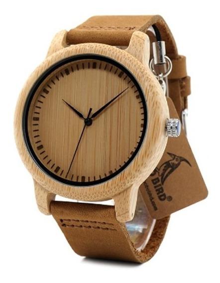 Relógio De Madeira Sustentável Unisex Pulseira Em Corino