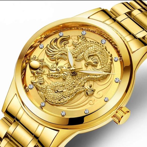 Relógio De Luxo De Aço Unissex Dragão Quartzo