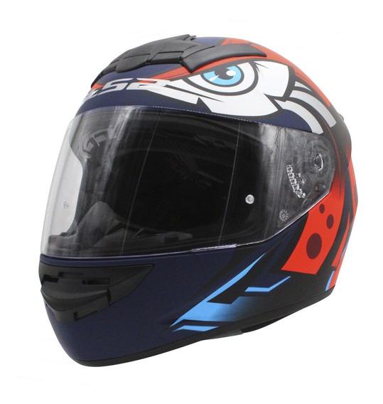 Casco Moto Integral Ls2 352 Rookie Tribal Mate Azul Naranja