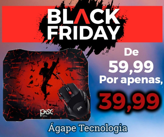 Kit Mouse 7 Botões + Mouse Pad Gamer - Combo Black Friday