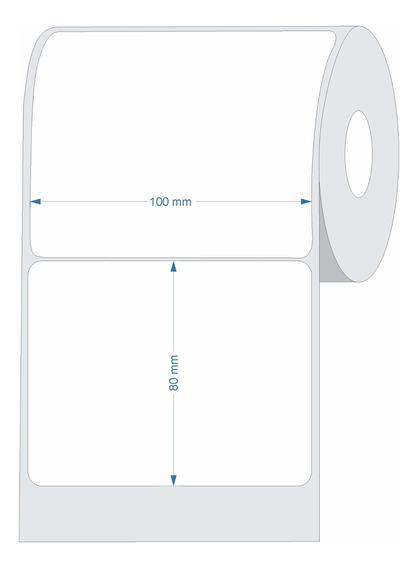 10 Rolos Etiqueta Couche 100x80 (mm) 10x8 Cm Branca