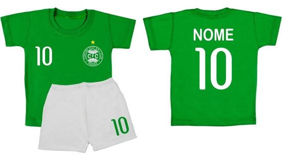 Conjunto Camiseta Infantil Time Coritiba Com Nome Bebê