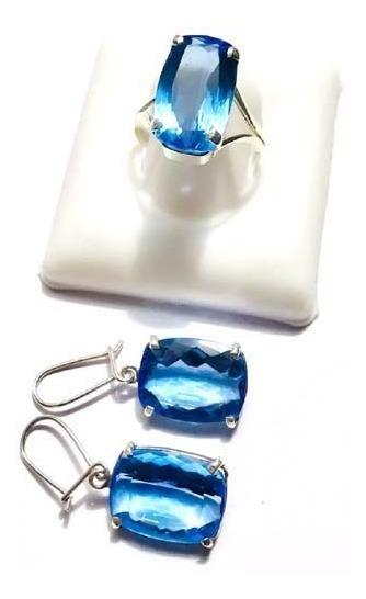 Lindo Conjunto Anel E Brincos Quartzo Azul Prata 950k Vj5425
