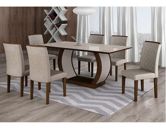 Conjunto De Mesa De Jantar Com 6 Cadeiras Maia I Linho Ca...