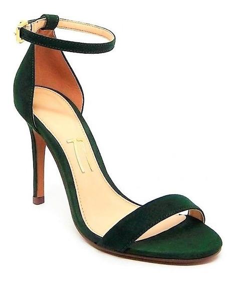 Sandália Verde Musgo Escuro Camurça Salto Alto Fino Tira