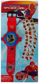 Relógio Homem Aranha Projetor De Luz Com 32 Imagens Infantil
