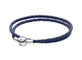 Bracelete De Couro Trançado Azul De Duas Voltas