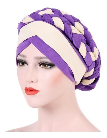 Turbante Trenza Doble Adorno, Alopecia, Oncológico, Cáncer, Accesorio Hermoso Para Tu Cabeza