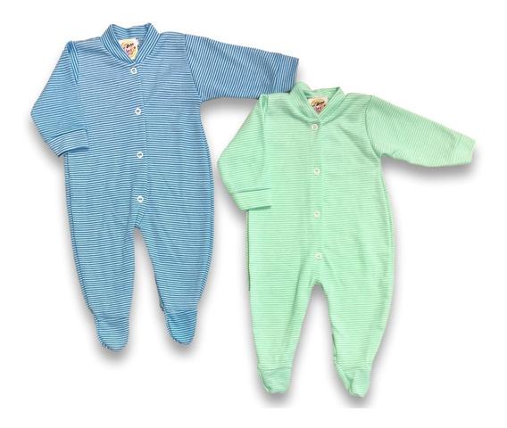 Macacão Bebê Menino Listrado Kit Com 2 Pçs, Tecido Grosso