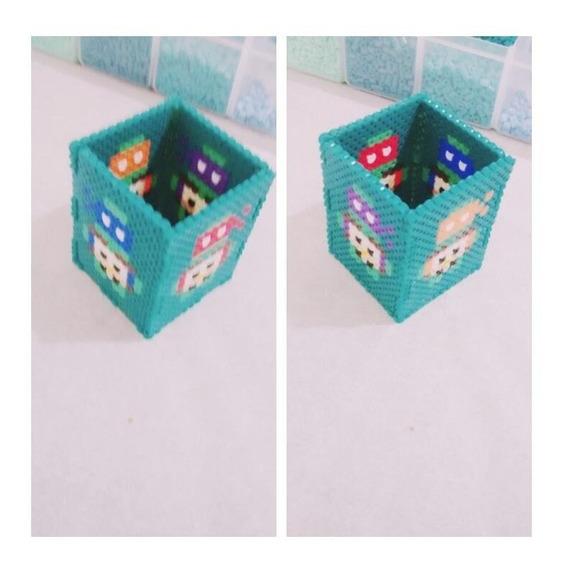 Porta Lápis Tartarugas Ninjas Hq Perler Beads 6,5x8cm