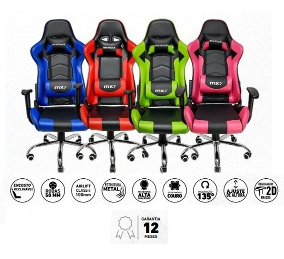 Cadeira Gamer Mx7 Giratoria Preto/azul
