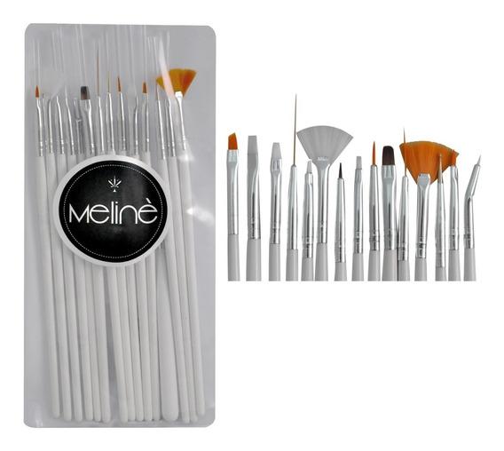 Pinceles Decoracion De Unas Nail Art X15 Meline
