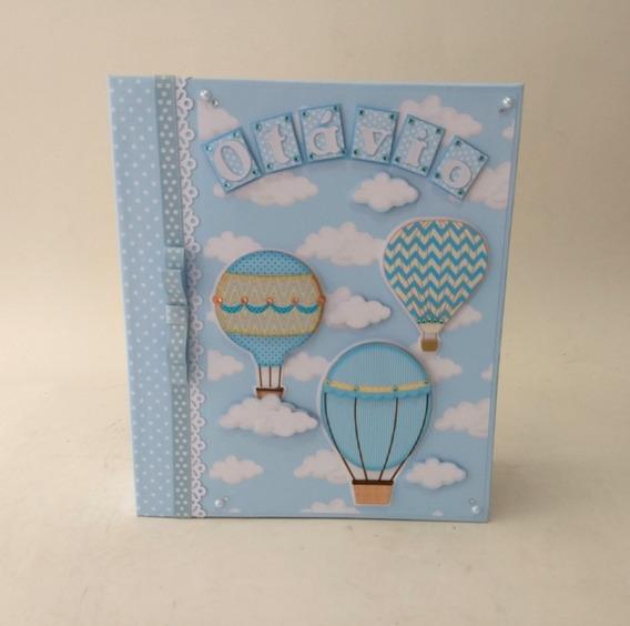 Álbum Fotos Diário Bebê Menino Personalizado Balões Nuvens