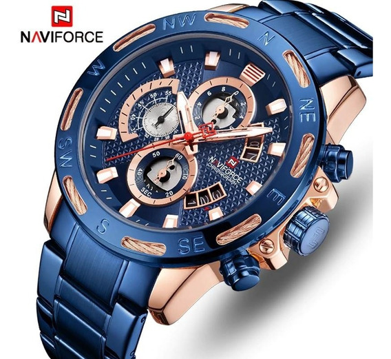 Relógio Masculino Luxo Naviforce Original Aço N9165