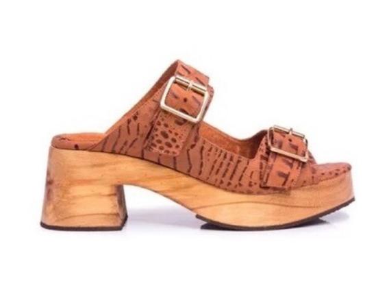 Zapato Mujer Zueco Natacha Cuero Reptil Marrón #3332