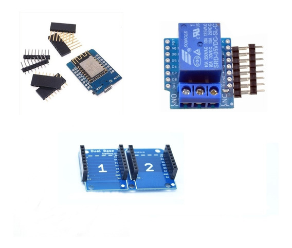 Kit Iot Esp8266 - Wemos Minid1 + Shield Rele + Dual Base