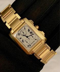 Cartier Tank Francaise Todo De Ouro , Xl , Chrono , Na Caixa