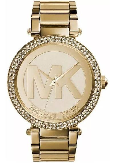 Relógio Ay007 Michael Kors Feminino Mk5784 Dourado + Caixa