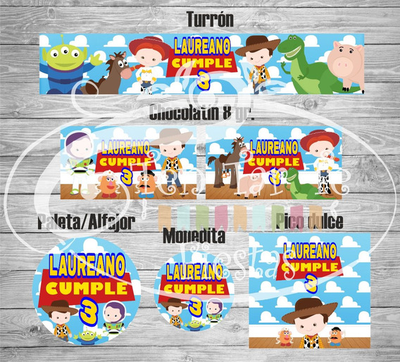 Sticker Etiquetas Candy Bar Golosinas Toy Story 4 Hojas A4