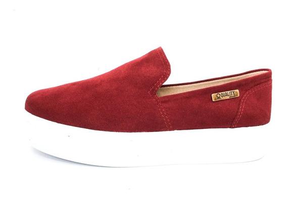 Tênis Flatform Quality Shoes Feminino 004 Camurça Vinho