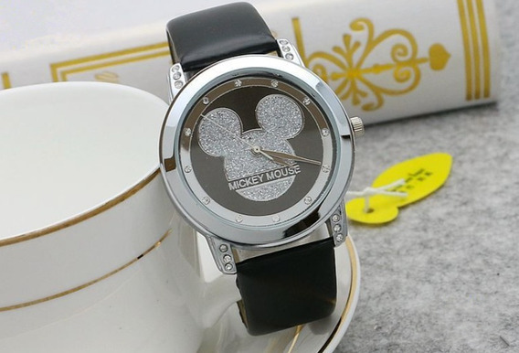 Relogio Mickey Mouse Disney Preto Couro Original Feminino