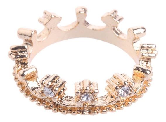 Anel Delicado Slim Discreto Princesa Rainha Coroa Strass