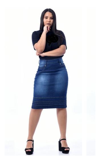 Roupas Femininas Saia Jeans Midi Com Lycra Evangélica 072