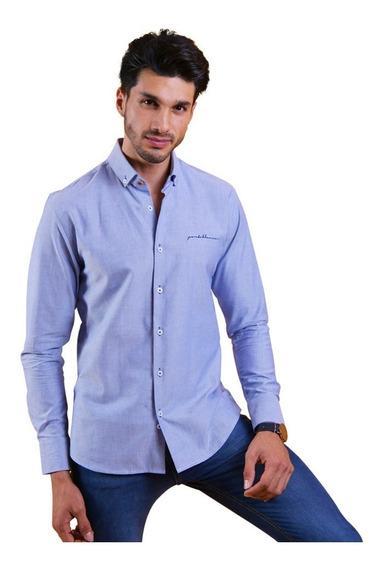 Camisa Casual Hombre Portoblanco Algodón Azul Lisa