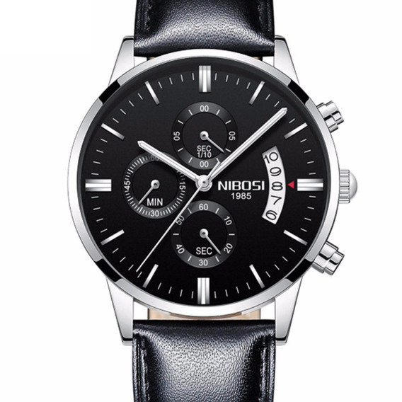Relógio Nibosi 2309 Masculino Pulseira De Couro Luxo Prova D