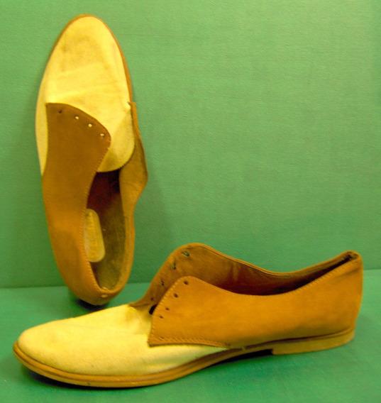 Sundborn Zapatos Sport Chatos Mujer 37/38 Gamuza Y Tela Oliv