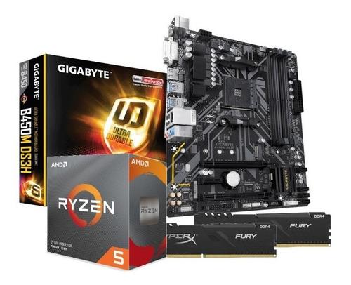 Kit Processador Amd Ryzen 5 3600 B450m-ds3h 2x8gb Hx Fury