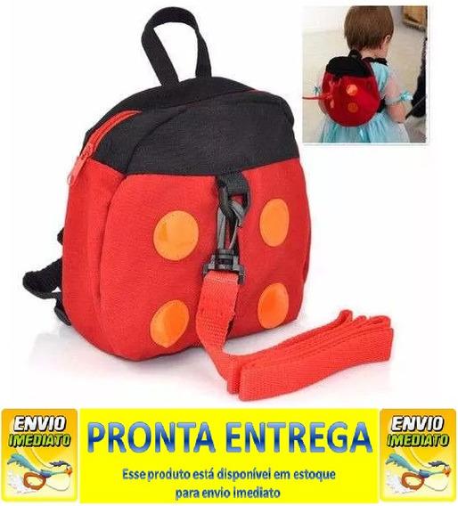 Mochila Infantil Coleira Segurança Joaninha Pronta Entrega