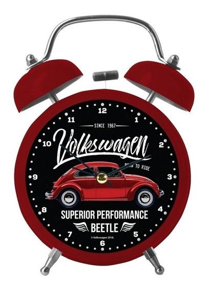 Relógio Despertador Vermelho 17cm Fusca Vintage Urban
