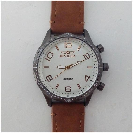 Relógio Masculino Barato Pulseira De Couro + Caixinha Promoção 12x Sem Juros