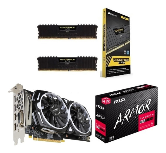 Kit Gamer Vga Msi Rx570 4gb Oc + 8 Gb 2x4 Ddr4 3000 Mhz