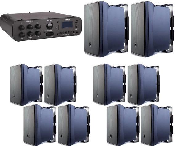 Som Ambiente Amplificador Sa 20 + 10 Caixas Jbl 621 P Preta