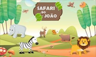 Painel Lona Festa Aniversario Safari Nome Criança Alta Resol