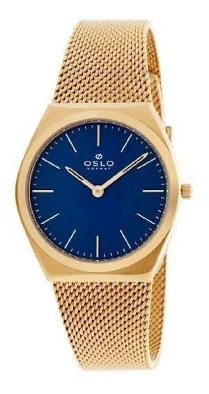 Relógio Feminino Slim Dourado Fundo Azul Pulseira Telinha