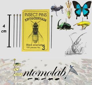 Alfileres Entomológicos Entochrysis Negros #3 Insectos