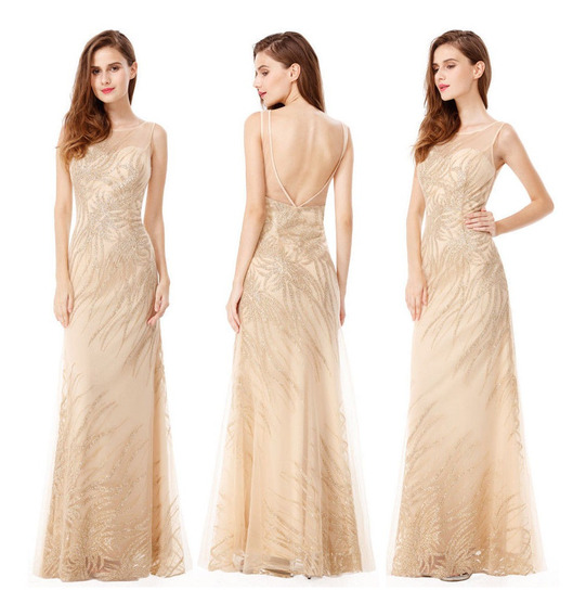 Vestido Dourado Com Bojo Longo