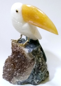 Pássaro Tucano Em Pedras Naturais Brasileiras 16cm 628g
