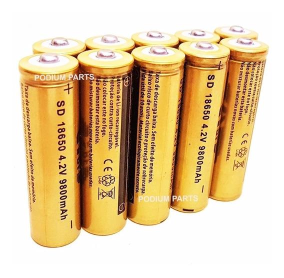 Kit 10 Bateria 18650 Recarregável 4,2v Lanterna Tática Led