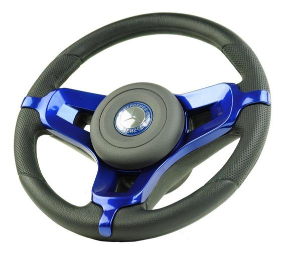 Volante Esportivo Mustang P/ Caminhão Mercedes Azul + Cubo